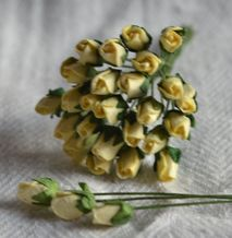 4mm LIGHT YELLOW ROSE BUDS Mulberry Paper Flowers